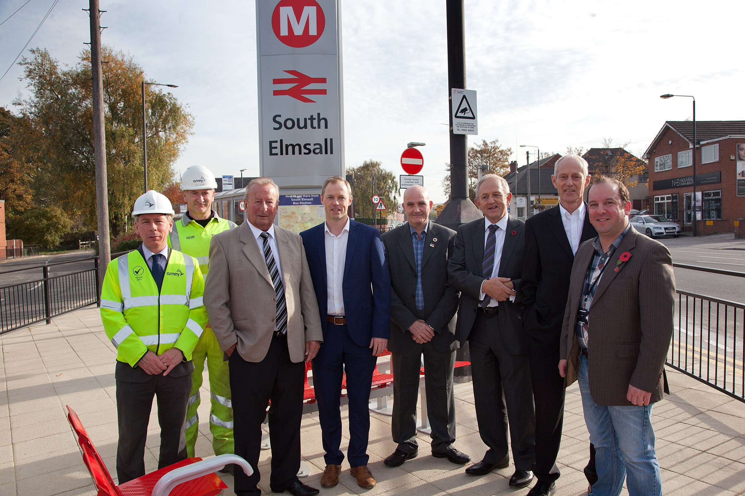 Image shows L to R: Stuart Nichols, Andy Campbell (Amey);  Cllr Wilf Benson, Paul Turton (SCP) Cllr Glyn Lloyd, Cllr Keith Wakefield, Cllr Peter Box and Cllr Matthew Morley.