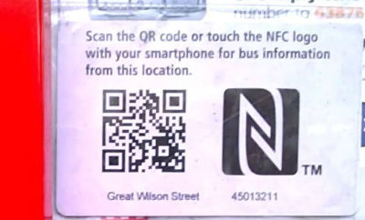 QR & NFC at bus stop