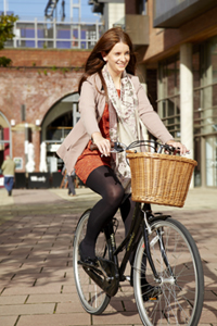 Cyclist at Granary Wharf in Leeds